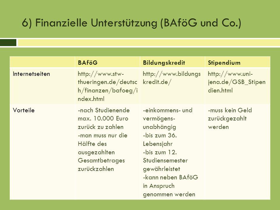 6) Finanzielle Unterstützung (BAföG und Co.)