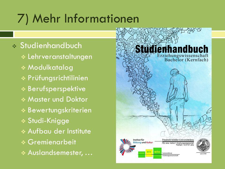 7) Mehr Informationen Studienhandbuch Lehrveranstaltungen Modulkatalog