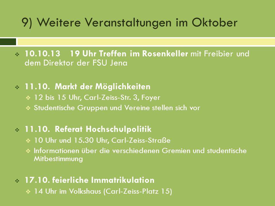 9) Weitere Veranstaltungen im Oktober