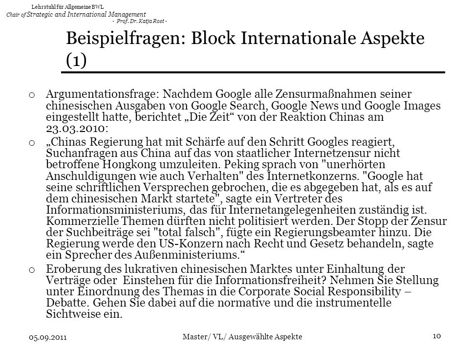 Beispielfragen: Block Internationale Aspekte (1)