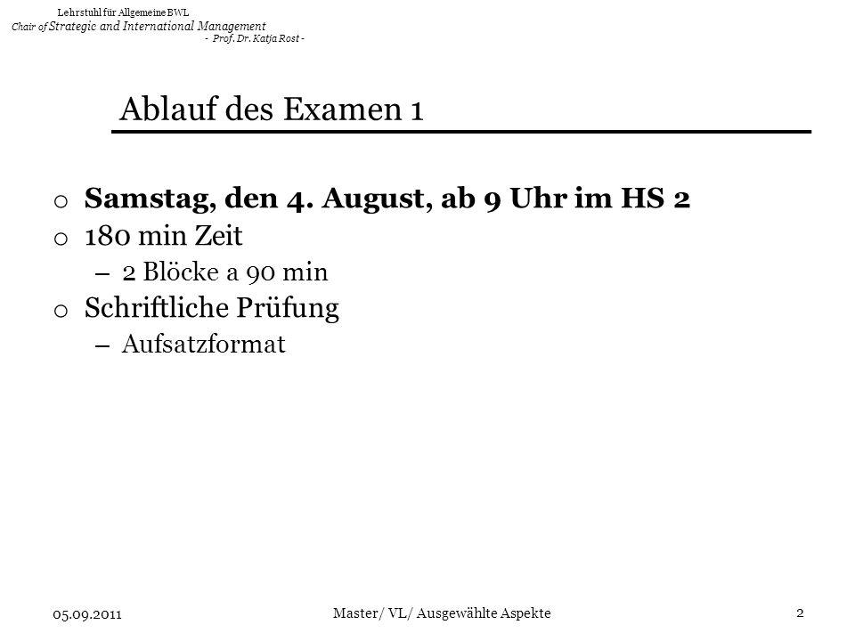 Ablauf des Examen 1 Samstag, den 4. August, ab 9 Uhr im HS 2