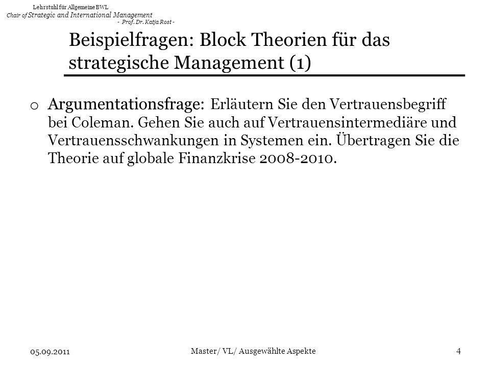 Beispielfragen: Block Theorien für das strategische Management (1)