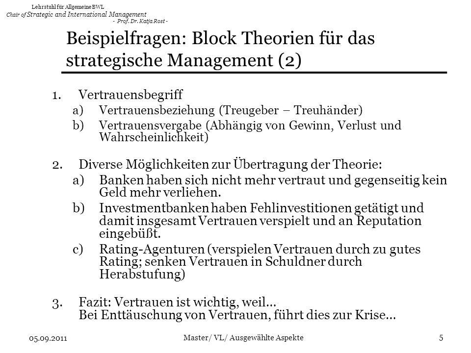 Beispielfragen: Block Theorien für das strategische Management (2)