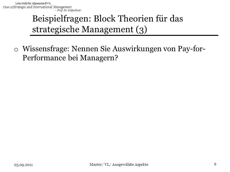 Beispielfragen: Block Theorien für das strategische Management (3)