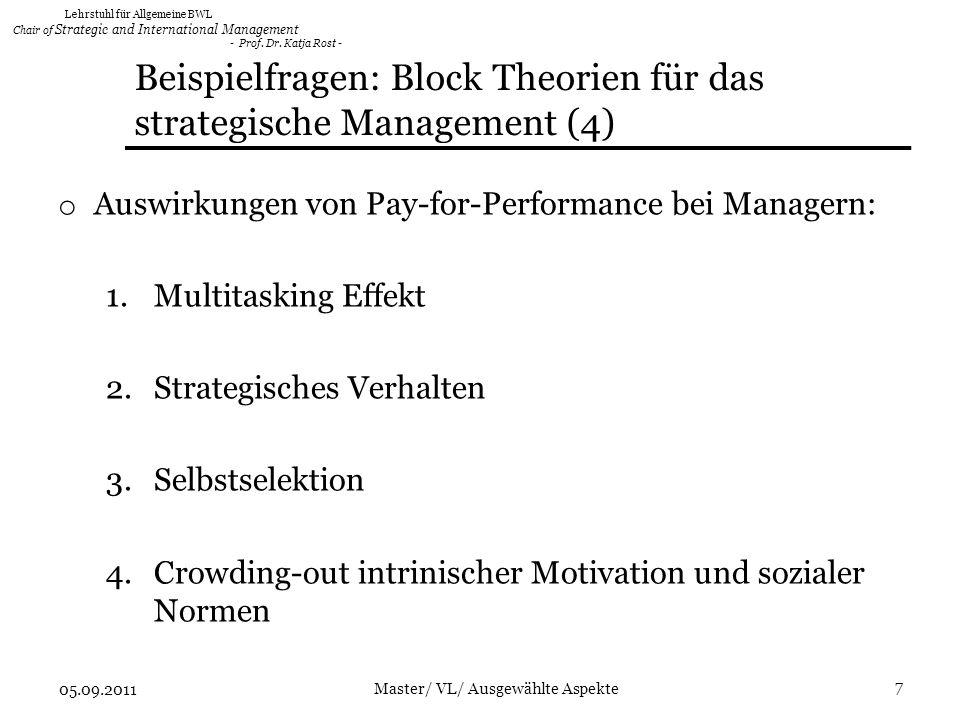 Beispielfragen: Block Theorien für das strategische Management (4)