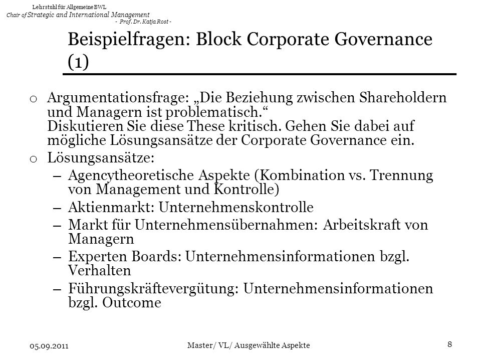 Beispielfragen: Block Corporate Governance (1)