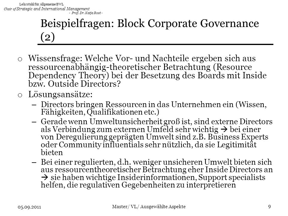 Beispielfragen: Block Corporate Governance (2)