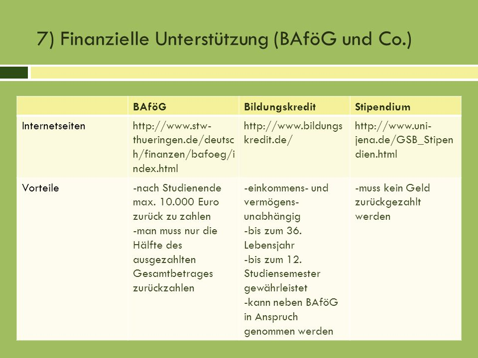 7) Finanzielle Unterstützung (BAföG und Co.)