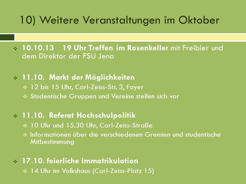10) Weitere Veranstaltungen im Oktober