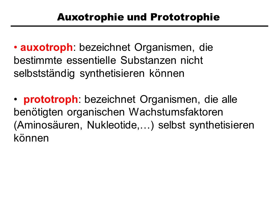 Auxotrophie und Prototrophie