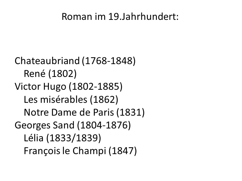 Roman im 19.Jahrhundert: