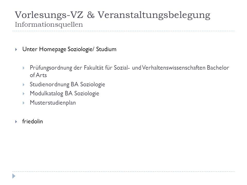 Vorlesungs-VZ & Veranstaltungsbelegung Informationsquellen