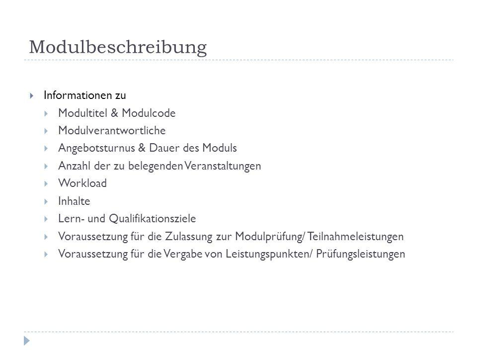 Modulbeschreibung Informationen zu Modultitel & Modulcode