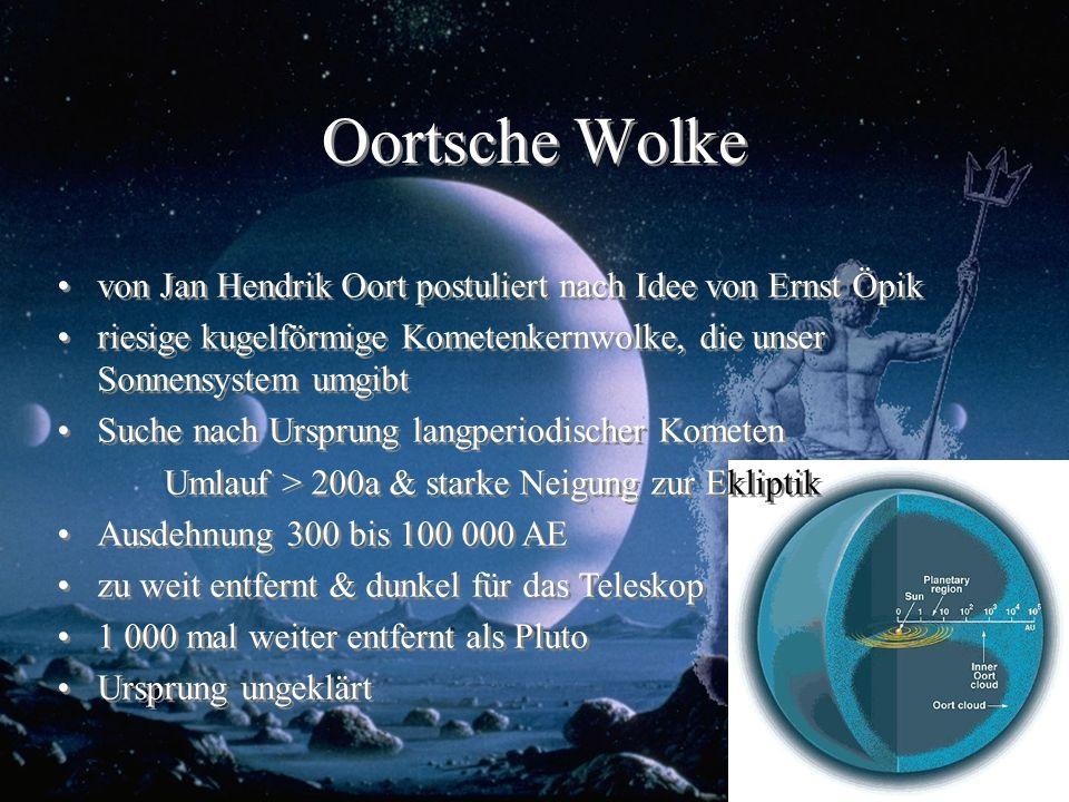 Oortsche Wolke von Jan Hendrik Oort postuliert nach Idee von Ernst Öpik. riesige kugelförmige Kometenkernwolke, die unser Sonnensystem umgibt.