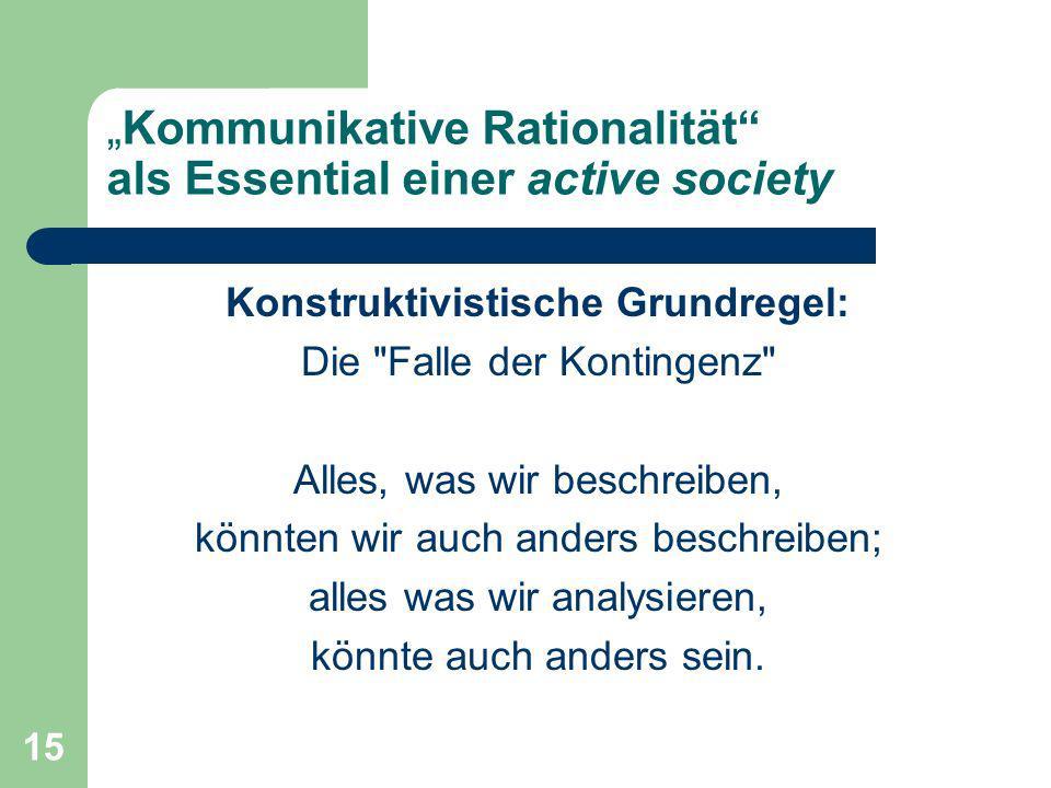 """""""Kommunikative Rationalität als Essential einer active society"""