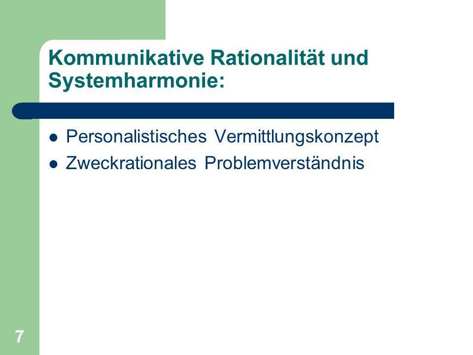 Kommunikative Rationalität und Systemharmonie: