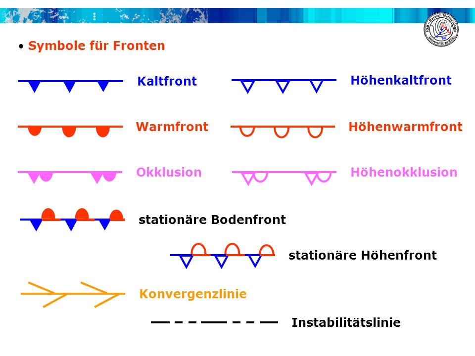 Symbole für Fronten Kaltfront. Höhenkaltfront. Warmfront. Höhenwarmfront. Okklusion. Höhenokklusion.