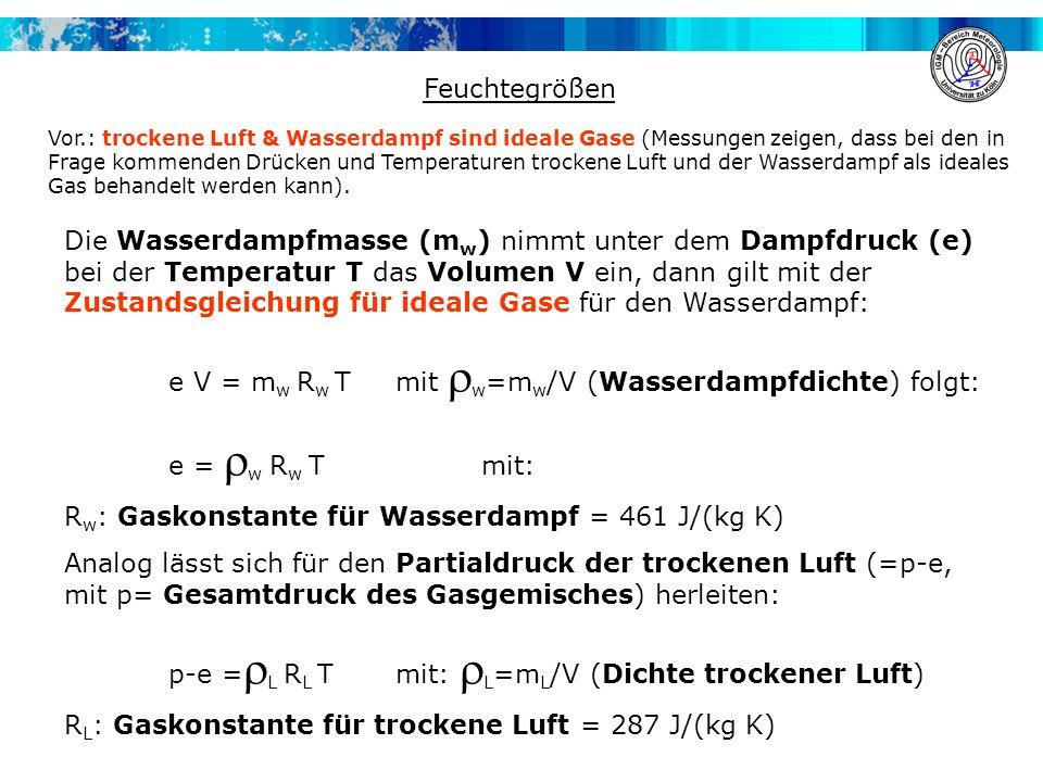 e V = mw Rw T mit rw=mw/V (Wasserdampfdichte) folgt: