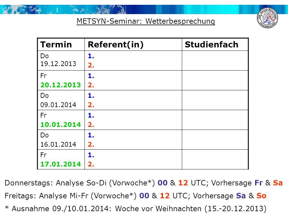 Termin Referent(in) Studienfach METSYN-Seminar: Wetterbesprechung