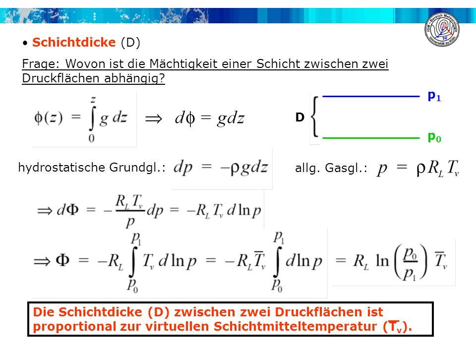 Schichtdicke (D) Frage: Wovon ist die Mächtigkeit einer Schicht zwischen zwei Druckflächen abhängig