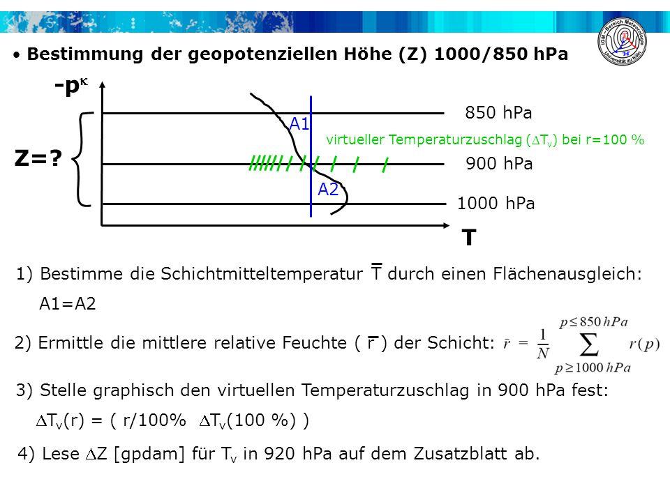 -p Z= T Bestimmung der geopotenziellen Höhe (Z) 1000/850 hPa 850 hPa