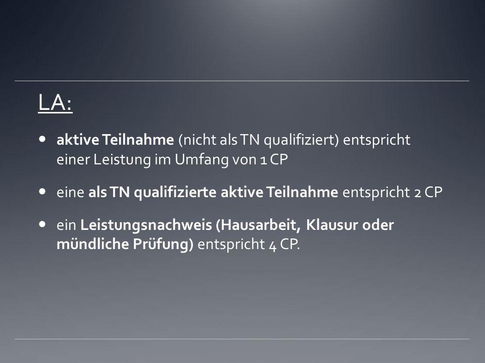 LA:aktive Teilnahme (nicht als TN qualifiziert) entspricht einer Leistung im Umfang von 1 CP.