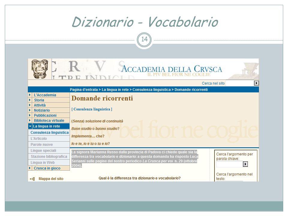 Dizionario - Vocabolario