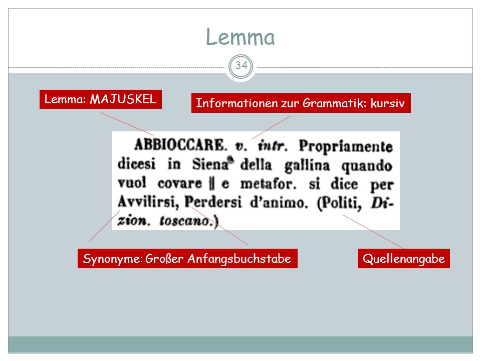 Lemma Lemma: MAJUSKEL Informationen zur Grammatik: kursiv