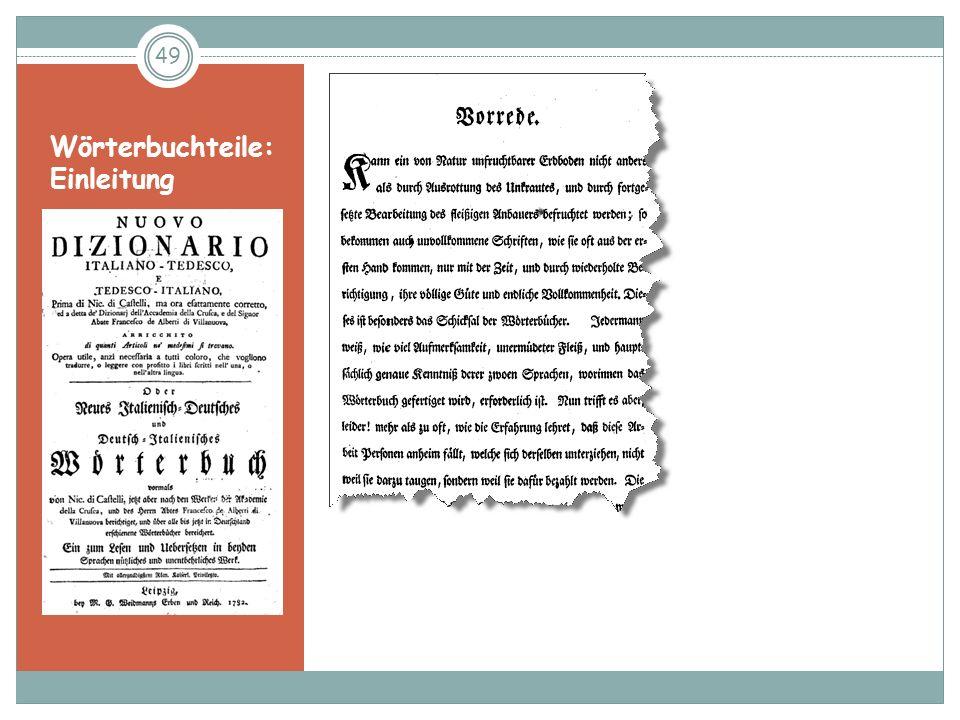 Wörterbuchteile: Einleitung
