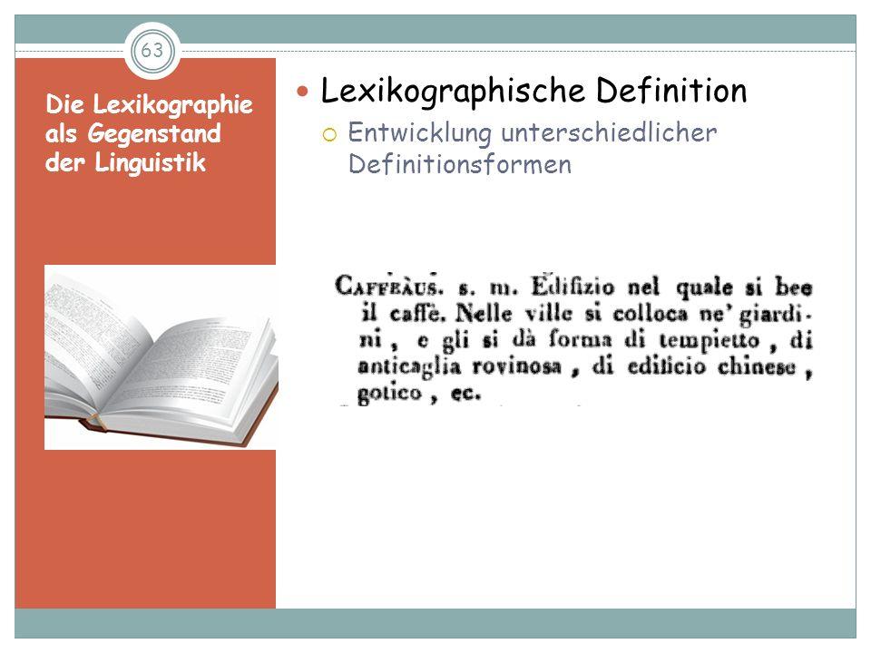 Die Lexikographie als Gegenstand der Linguistik
