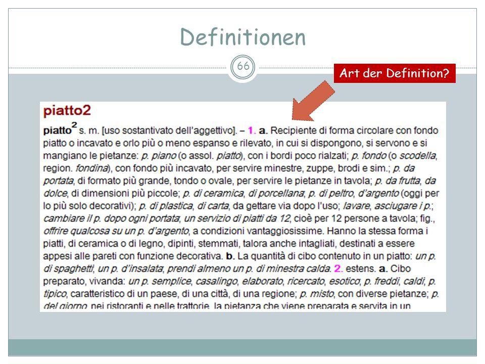 Definitionen Art der Definition