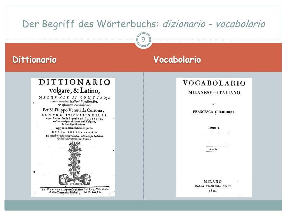 Der Begriff des Wörterbuchs: dizionario - vocabolario