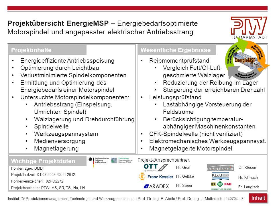 Projektübersicht EnergieMSP – Energiebedarfsoptimierte Motorspindel und angepasster elektrischer Antriebsstrang