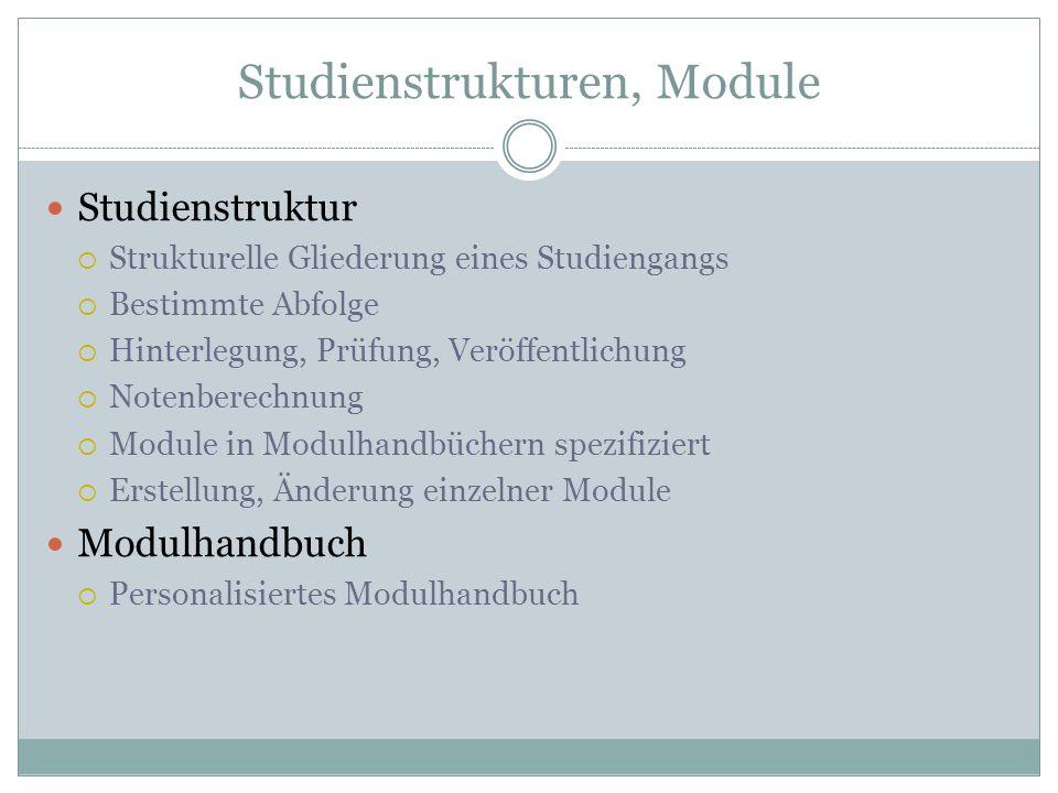 Studienstrukturen, Module