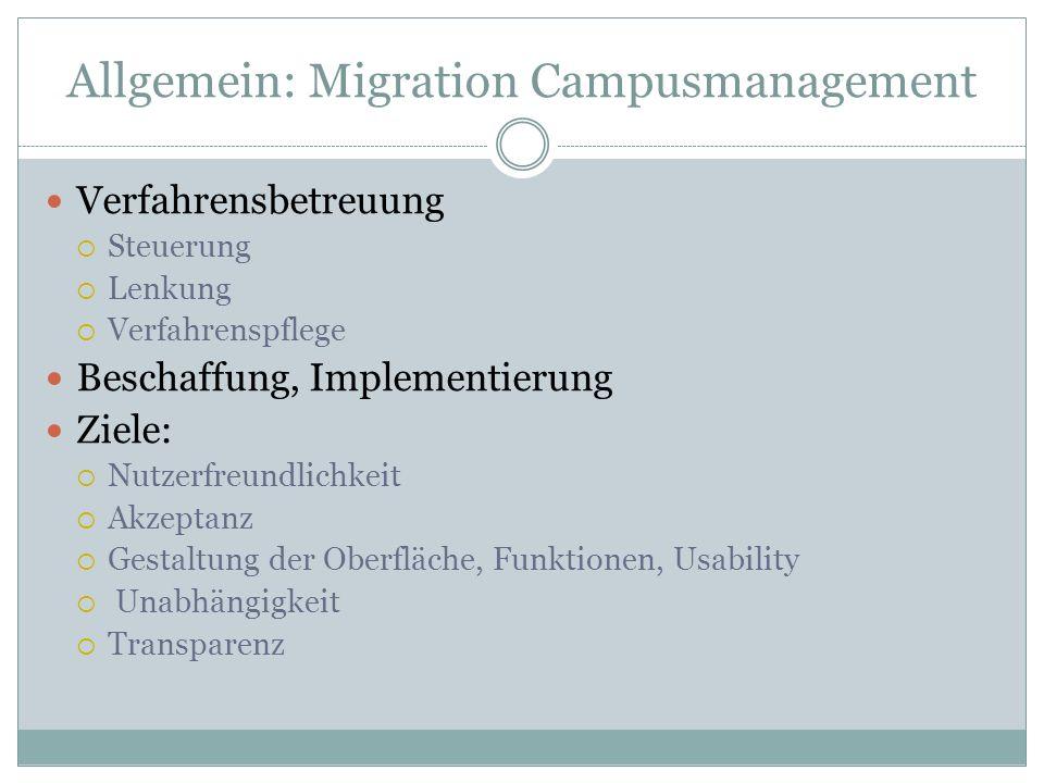 Allgemein: Migration Campusmanagement