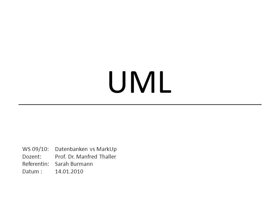 UML WS 09/10: Datenbanken vs MarkUp Dozent: Prof. Dr. Manfred Thaller
