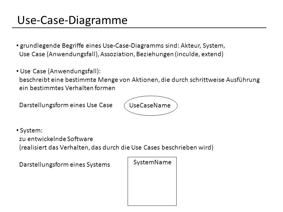 Use-Case-Diagramme grundlegende Begriffe eines Use-Case-Diagramms sind: Akteur, System,