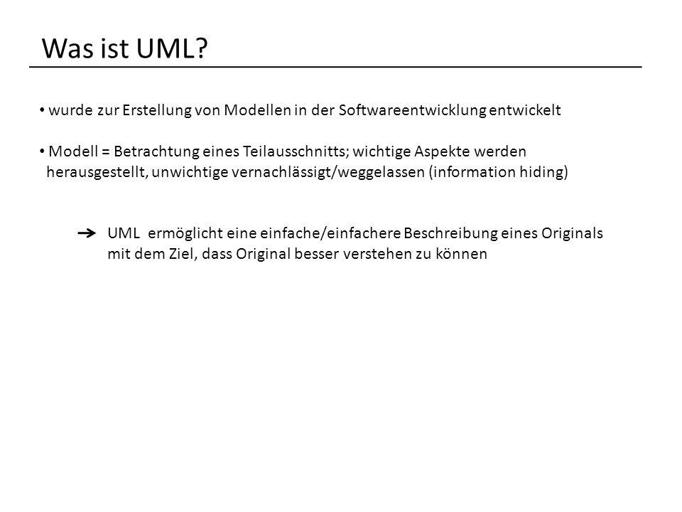 Was ist UML wurde zur Erstellung von Modellen in der Softwareentwicklung entwickelt.