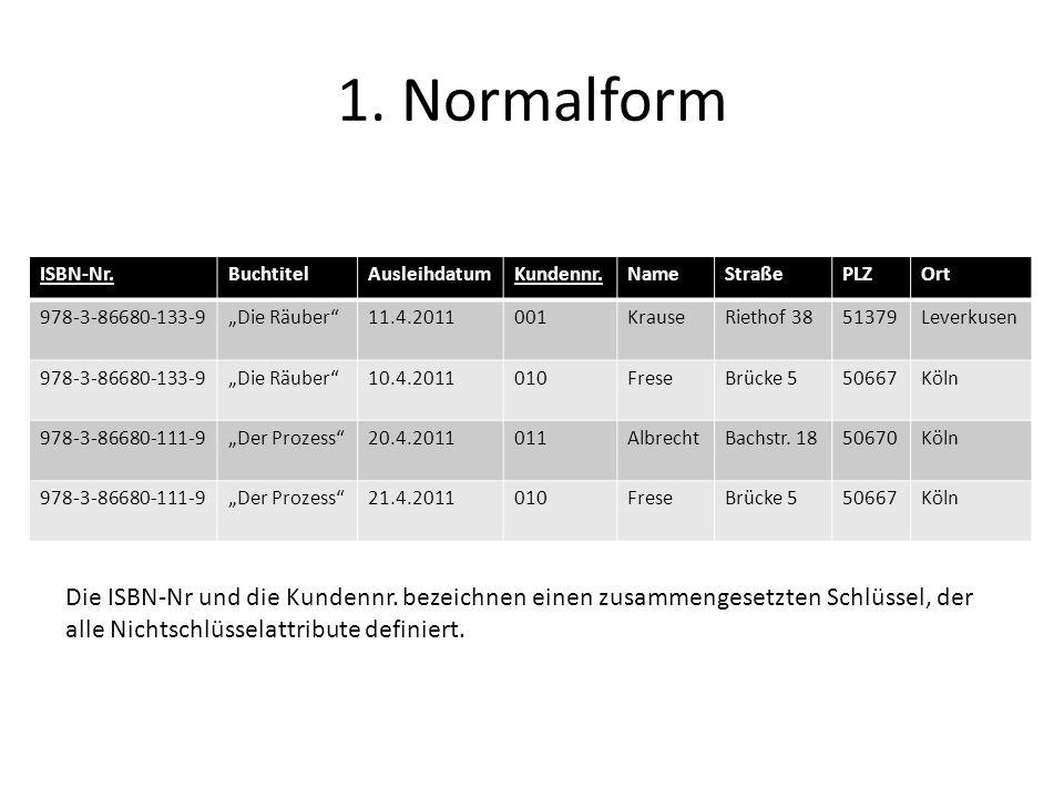 1. Normalform ISBN-Nr. Buchtitel. Ausleihdatum. Kundennr. Name. Straße. PLZ. Ort. 978-3-86680-133-9.