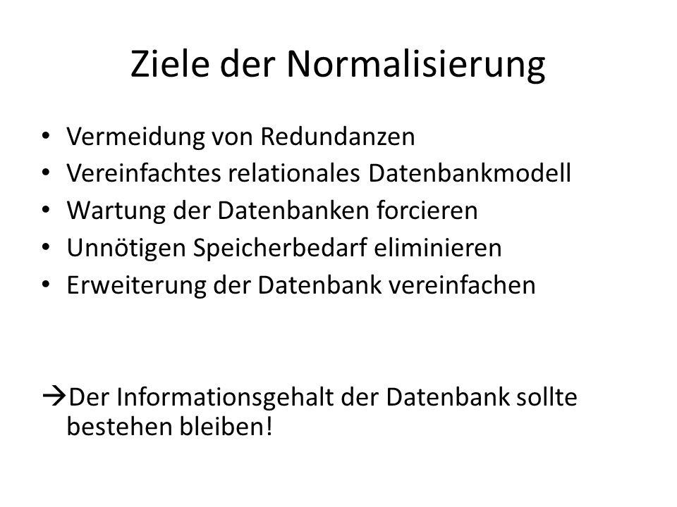 Ziele der Normalisierung