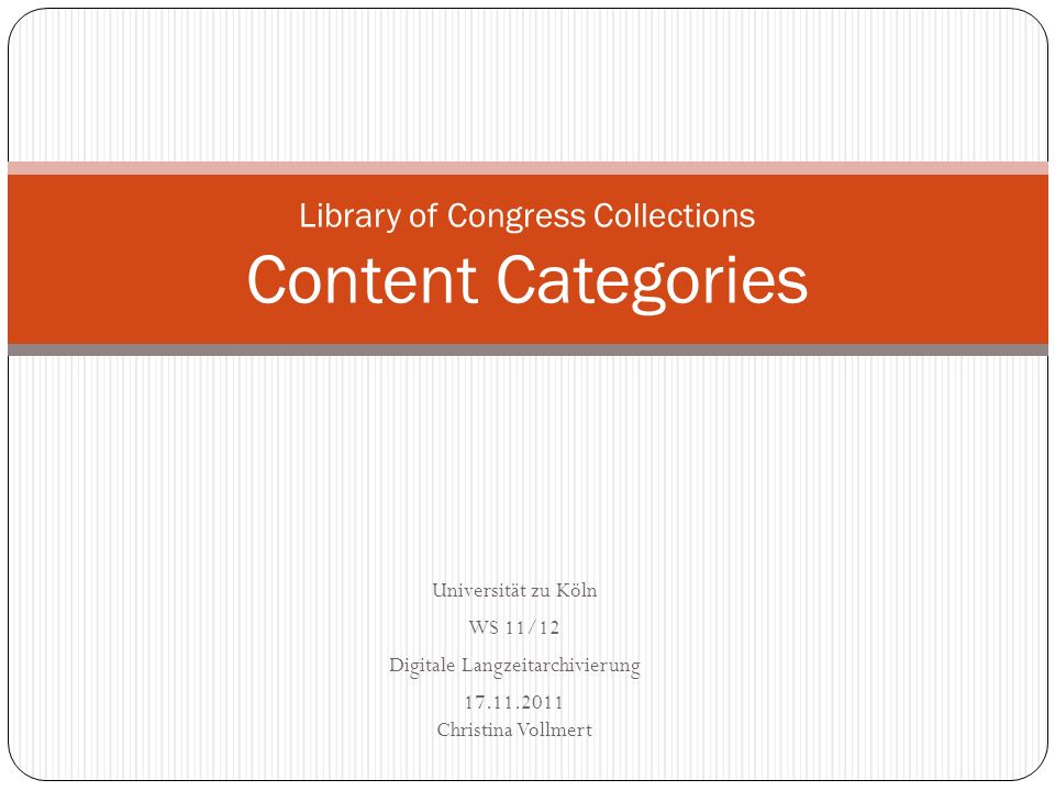 Library of Congress Collections Content Categories