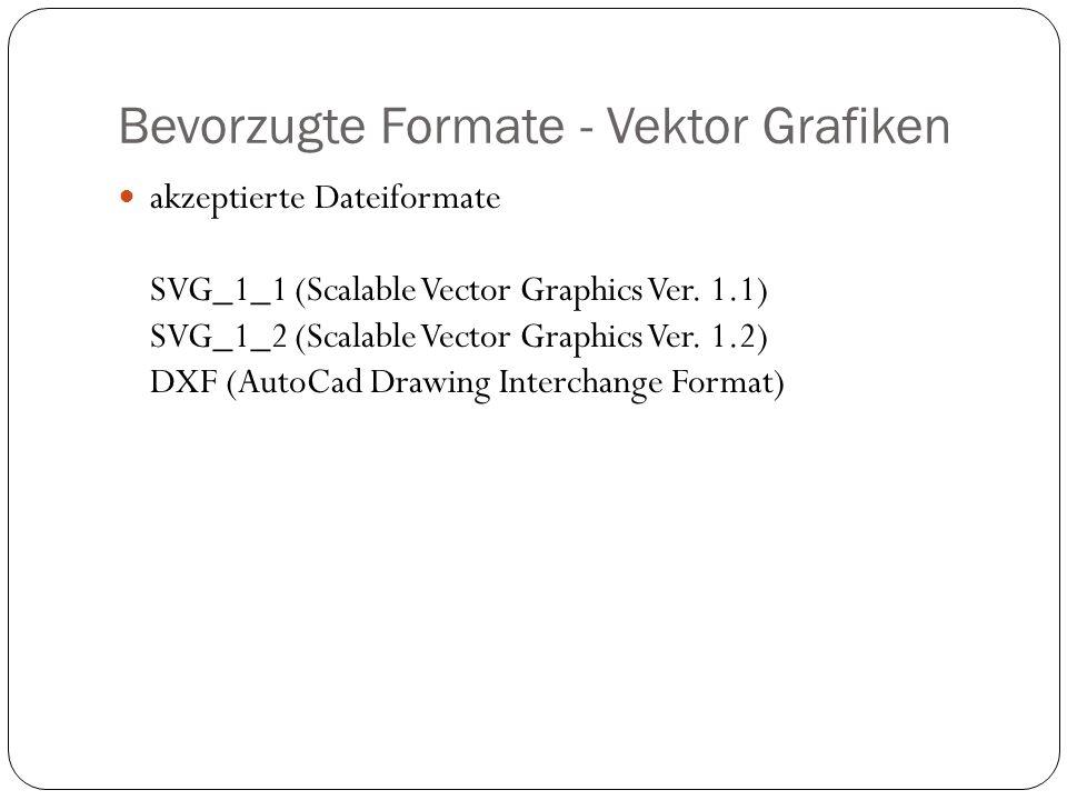 Bevorzugte Formate - Vektor Grafiken