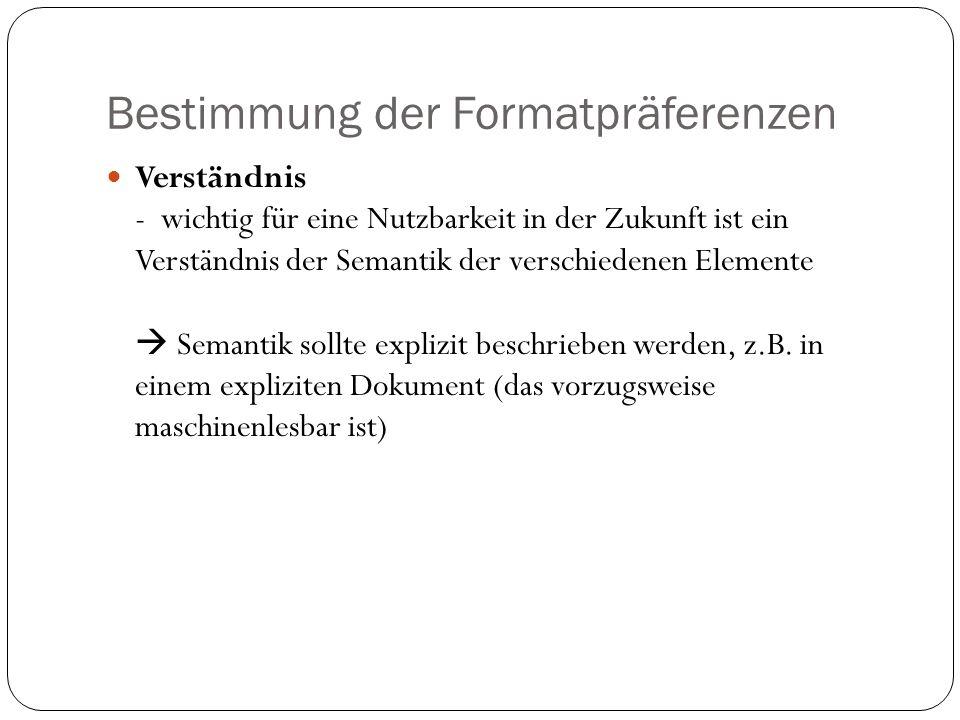 Bestimmung der Formatpräferenzen