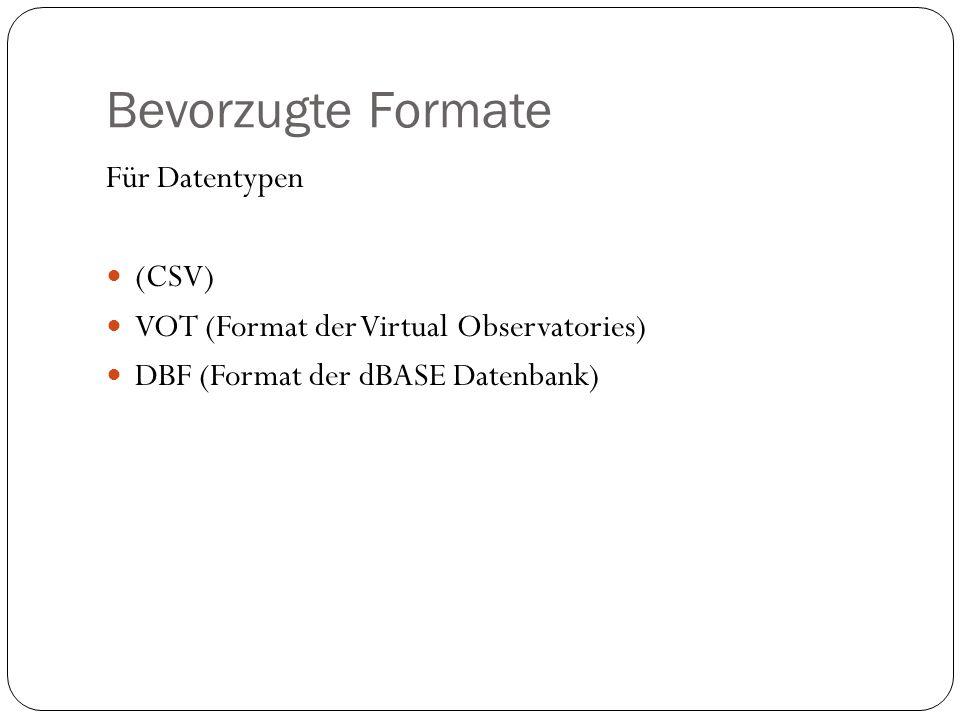 Bevorzugte Formate Für Datentypen (CSV)
