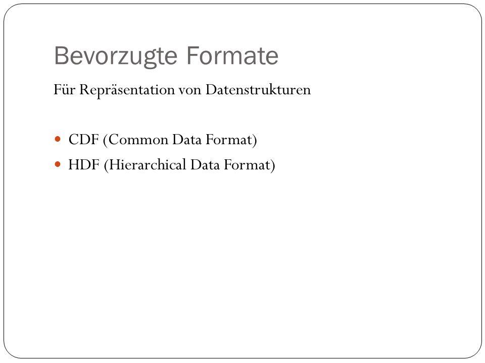 Bevorzugte Formate Für Repräsentation von Datenstrukturen