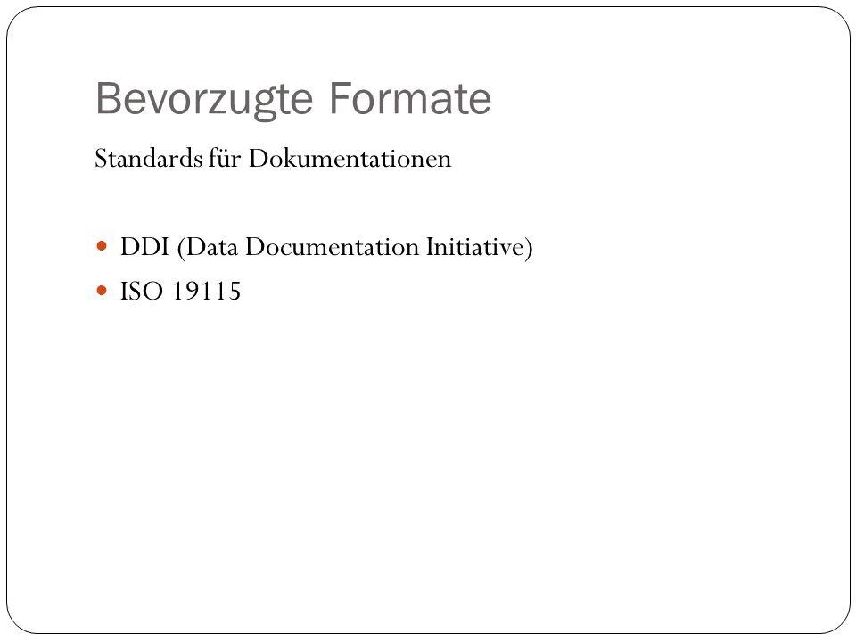 Bevorzugte Formate Standards für Dokumentationen