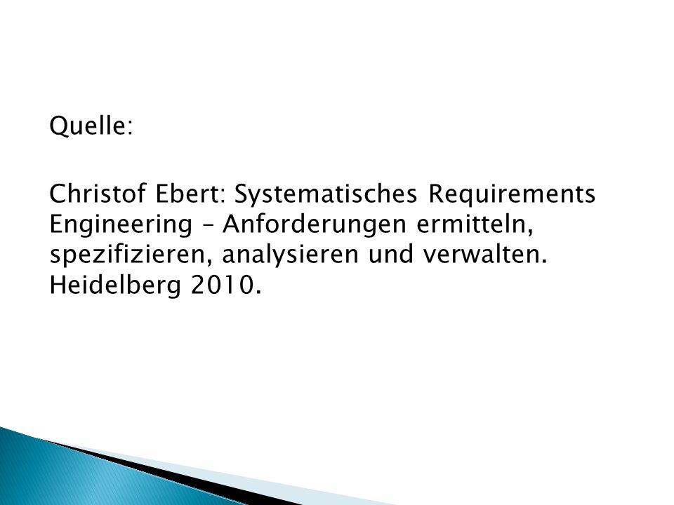 Quelle: Christof Ebert: Systematisches Requirements Engineering – Anforderungen ermitteln, spezifizieren, analysieren und verwalten.