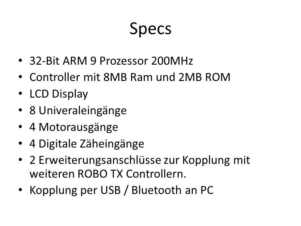 Specs 32-Bit ARM 9 Prozessor 200MHz Controller mit 8MB Ram und 2MB ROM