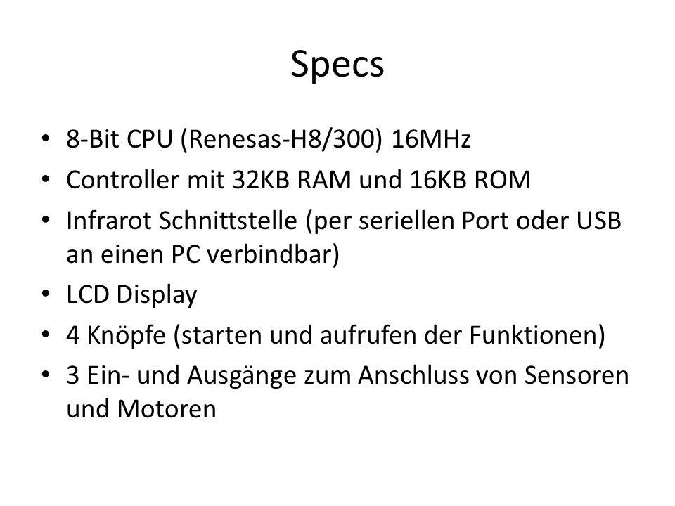 Specs 8-Bit CPU (Renesas-H8/300) 16MHz