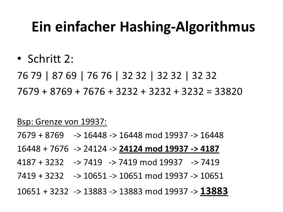Ein einfacher Hashing-Algorithmus